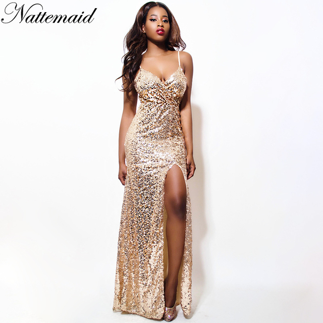 NATTEMAID Shining Gold Sequin Maxi Long Dress Elegant Evening Robe Sexy  slit Bustier Dress spaghetti strap v neck dresses 227464c45c5b