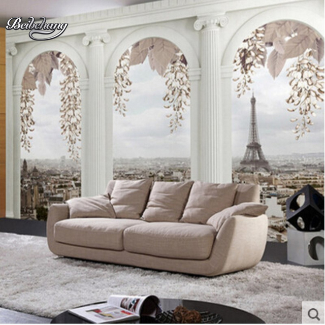 Beibehang Eiffelturm Retro Stadt Bau Fototapete Wohnzimmer TV Sofa ...
