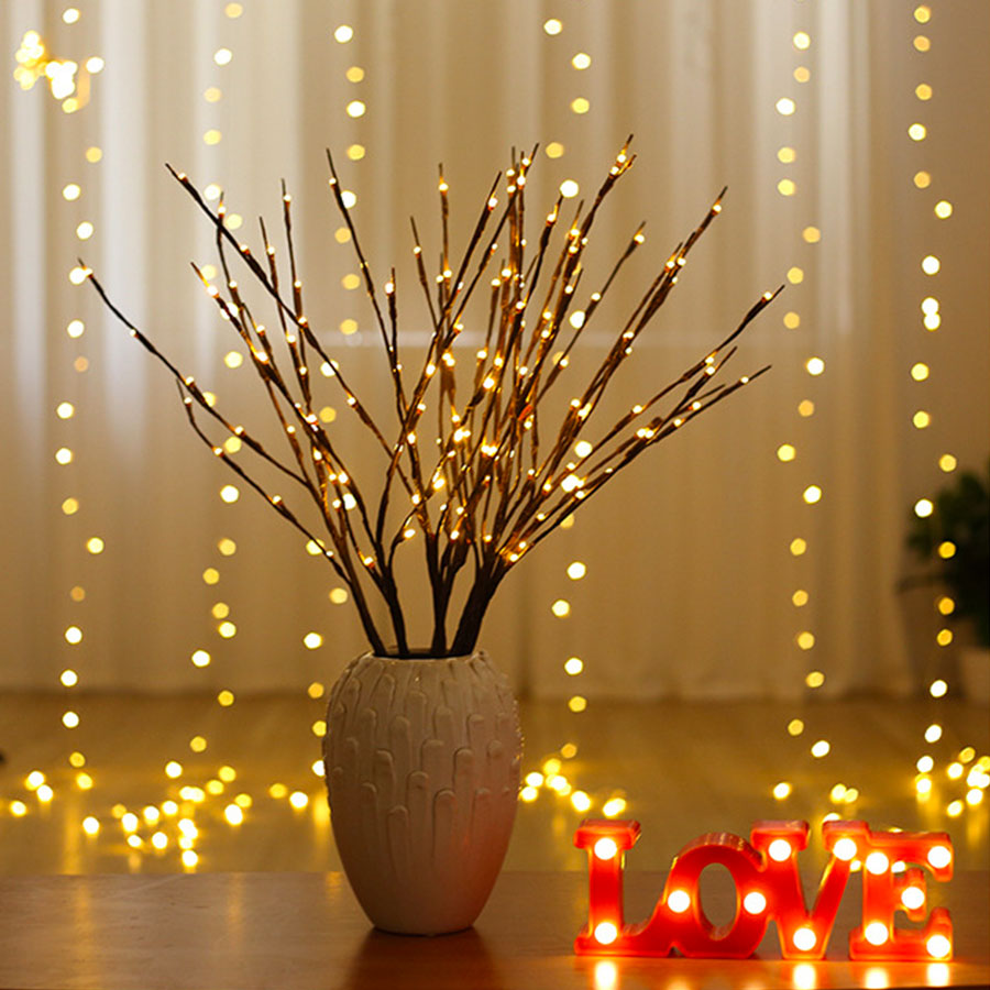 20 Bulbs LED Willow Branch Light Battery Powered Tall Vase Filler Willow Twig Lamp For Home Christmas Wedding Decorative Lights