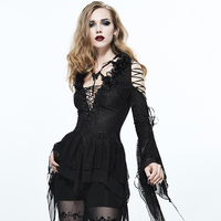 Gothic Fancy Embroidered Bind T Shirt Ladies Sexy Deep V Collar Tee Shirt Evening Party Prom Tops with Roses Decorated