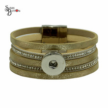 New Arrival Crystal Multilayer Gold Leather Bracelet Snap Button Bracelets Magnet Buckle Bracelet For 18MM Snap Button Jewelry