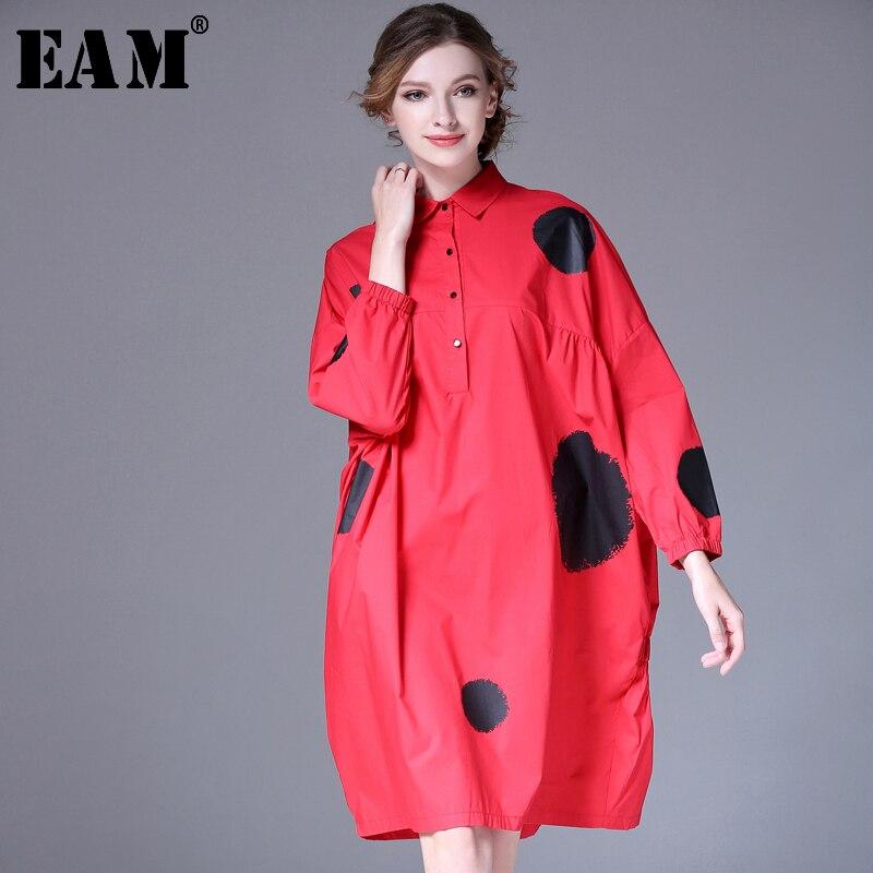 [EAM] 2020 New Spring Lapel Long Sleeve Red Dot Printed Back Elastic Fold Stitching Big Size Shirt Women Blouse Fashion JG45