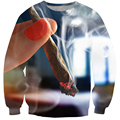 New fashion Bright 3d Sweatshirt Psychedelic Smoking Joint Crewneck Hoodies Pullovers Women/Men Casual Outerwear Jumpers S-XXL