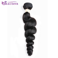 Beaudiva Hair Brazilian Loose Wave Natural Black 8 26inch Bouncy Hair Weave Bundles Remy Hair