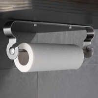 Organisateur de stockage de tissu de porte-serviettes en papier adhésif de support de rouleau de cuisine d'acier inoxydable