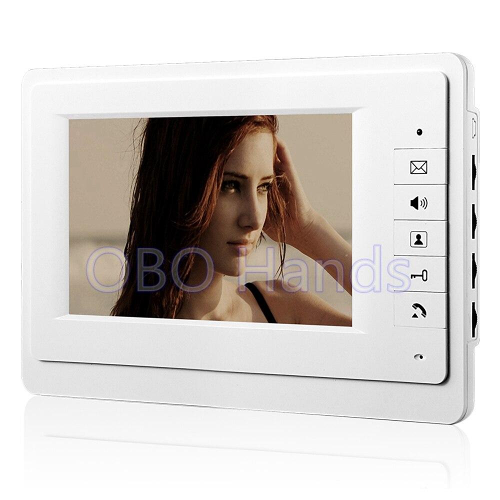 Free Shipping 7`` TFT Color Video door phone Intercom video Doorbell System Kit Speaker phone intercom IR Camera