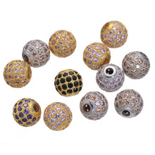 8mm Multicolor Copper Micro Pave Colorful Zircon Beads Charms Jewelry Suitable Beads Fits Charm Bracelets 5PCS CHF139