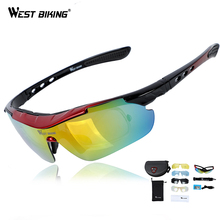 WEST BIKING 5 Lens Bicycle Glasses UV400 Windproof Cycling Myopia Frame Men Women Eyewear Sunglasses