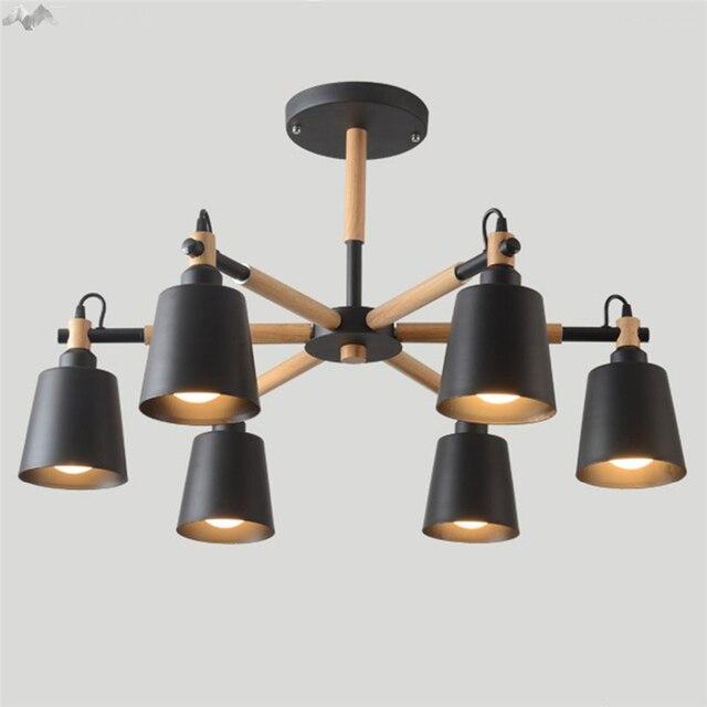 Jw Nordique Simple Moderne Bois Fer Plafonnier Led Plafond Lampe