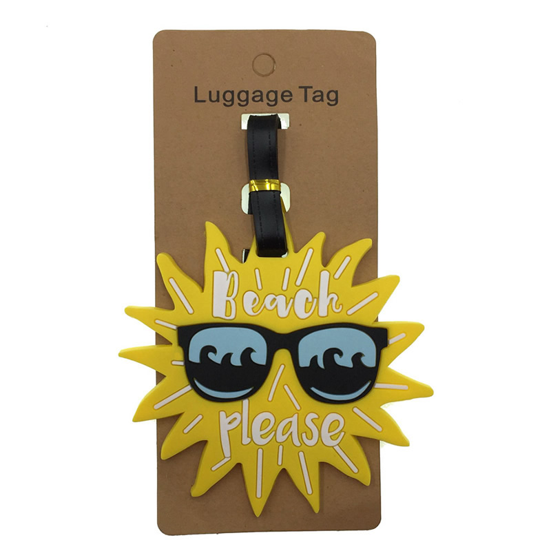 Kawaii Sunshine Luggage Tags Silica Gel Suitcase Cartoon Holder Baggage Boarding  Addres Credt Travel Accessories Cute Portable