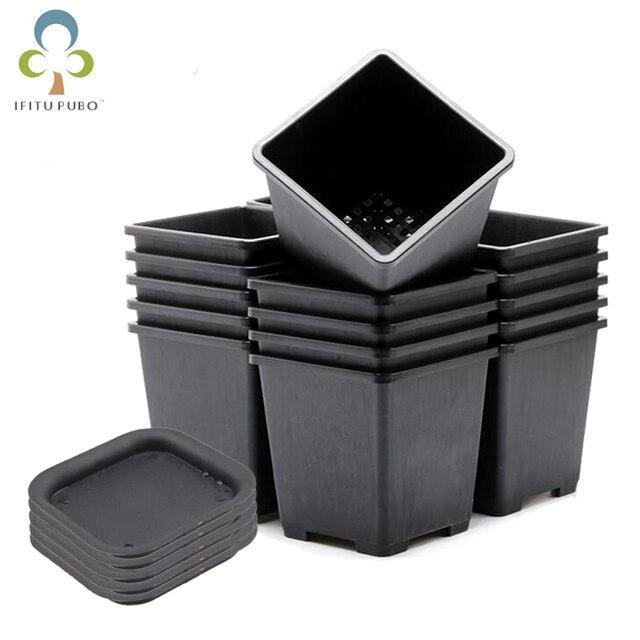 $ US $1.98 10pcs/lot 7*7*8cm Black Color Flower Pots Planters Pot Trays Plastic Pots Creative Small Square Pots for Succulent plants GYH
