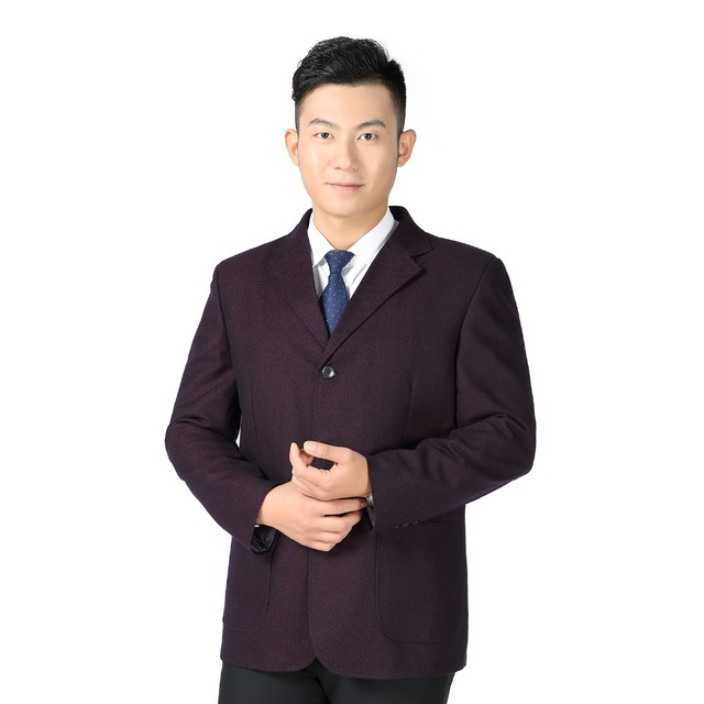 WEAOLSA Father Blazer Blue Red Suit Coat Middle Aged Men Casual Blazers Male Outfits Man Single Breasted Blazers Mature Men Coat