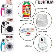 Oryginalne Fuji Fujifilm Instax Mini 7s aparat natychmiastowy i kamery zestaw z monochromatyczny Mini Film, obiektyw Selfie, filtry kolorów, etui