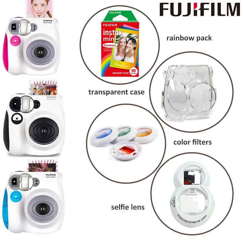 Véritable appareil photo et appareil photo instantané Fuji Instax Mini 7 s avec Mini Film Monochrome, objectif Selfie, filtres de couleur, étui