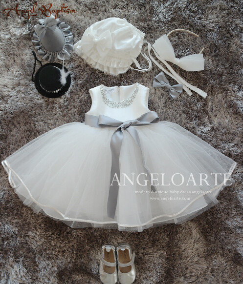 Beaded puffy tulle Flower Girl Dress Infant Tutu newborn christening dresses baptism gown baby Birthday Dress 1 Year with bonnet цена
