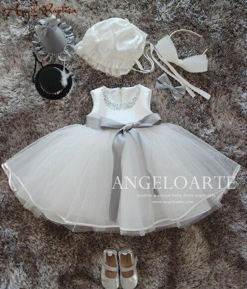 Perlée bouffante tulle fleur fille robe infantile Tutu nouveau-né robes de baptême robe de baptême bébé anniversaire robe 1 an avec bonnet