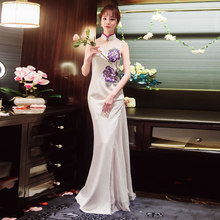 BOOCRE White Embroidery Long Modern Cheongsam Formal Chinese Traditional  Dress Sexy 12c583809fa9