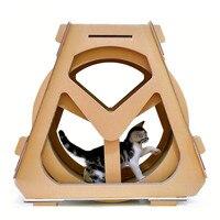 Corrugated paper treadmill ferris wheel pet furniture cat scratch board grab crawling shelf rotation