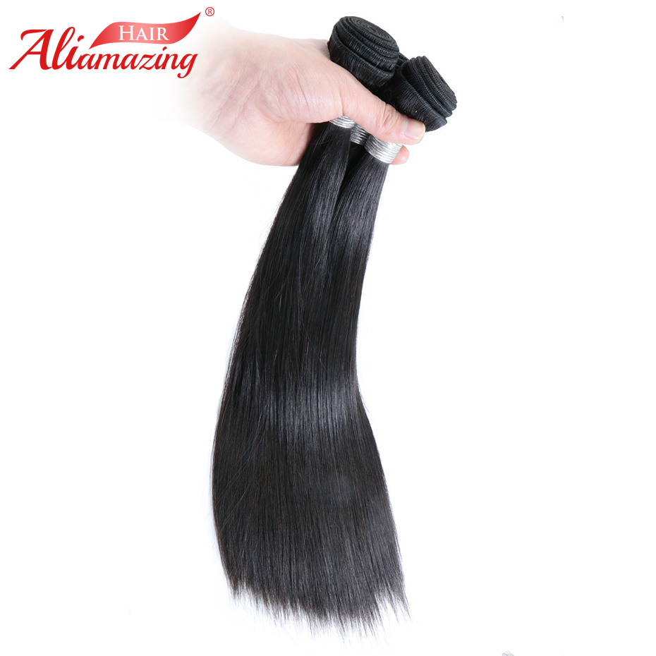 Ali Amazing Hair Peruvian Straight Hair Weave 3 Bundles 100% Silky Straight Remy Human Hair Bundles 3pcs/lot Double Weft #1B