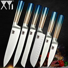 XYj Blue Rainbow Handle Kitchen Knive Set Stainless Steel Chef Knife Set Utility Slicer Paring Kitchen Knife 3Cr13 Sharp Blade(China)