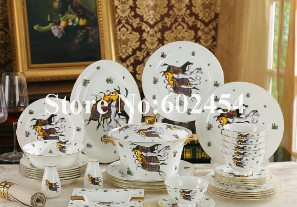 58 pcs ceramic tableware Luxurious gold-rimmed dinnerware bone china bowls and plates set high & 58 pcs ceramic tableware Luxurious gold rimmed dinnerware bone china ...