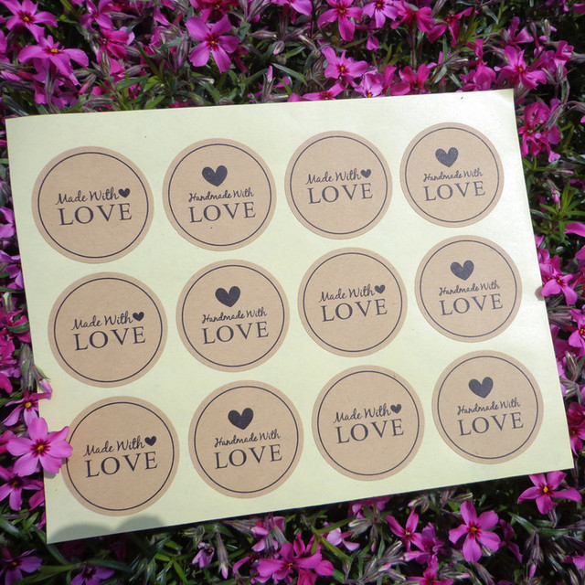 Made with Love Patterned Stickers 120 pcs Set