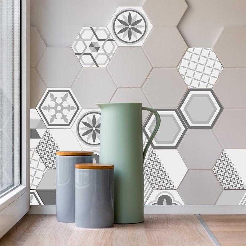 10 Stücke Kreative Geometrische Hexagonal 3D Fliesen Aufkleber Wasserdicht  Backsplash Einfach Zu Abnehmbare Non Slip Wand Stciker Für Küche Fledermaus