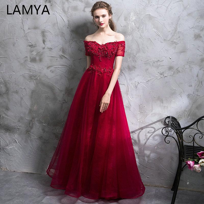 LAMYA 2019 New Long   Evening     Dresses   With Short Sleeve Vintage Beading Prom   Dress   Elegant Appliques Ball Gown vestido de noiva