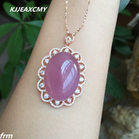 KJJEAXCMY boutique jewelry, 925 sterling silver pendant 20x30 mm large powder Furong stone chalcedony pendant
