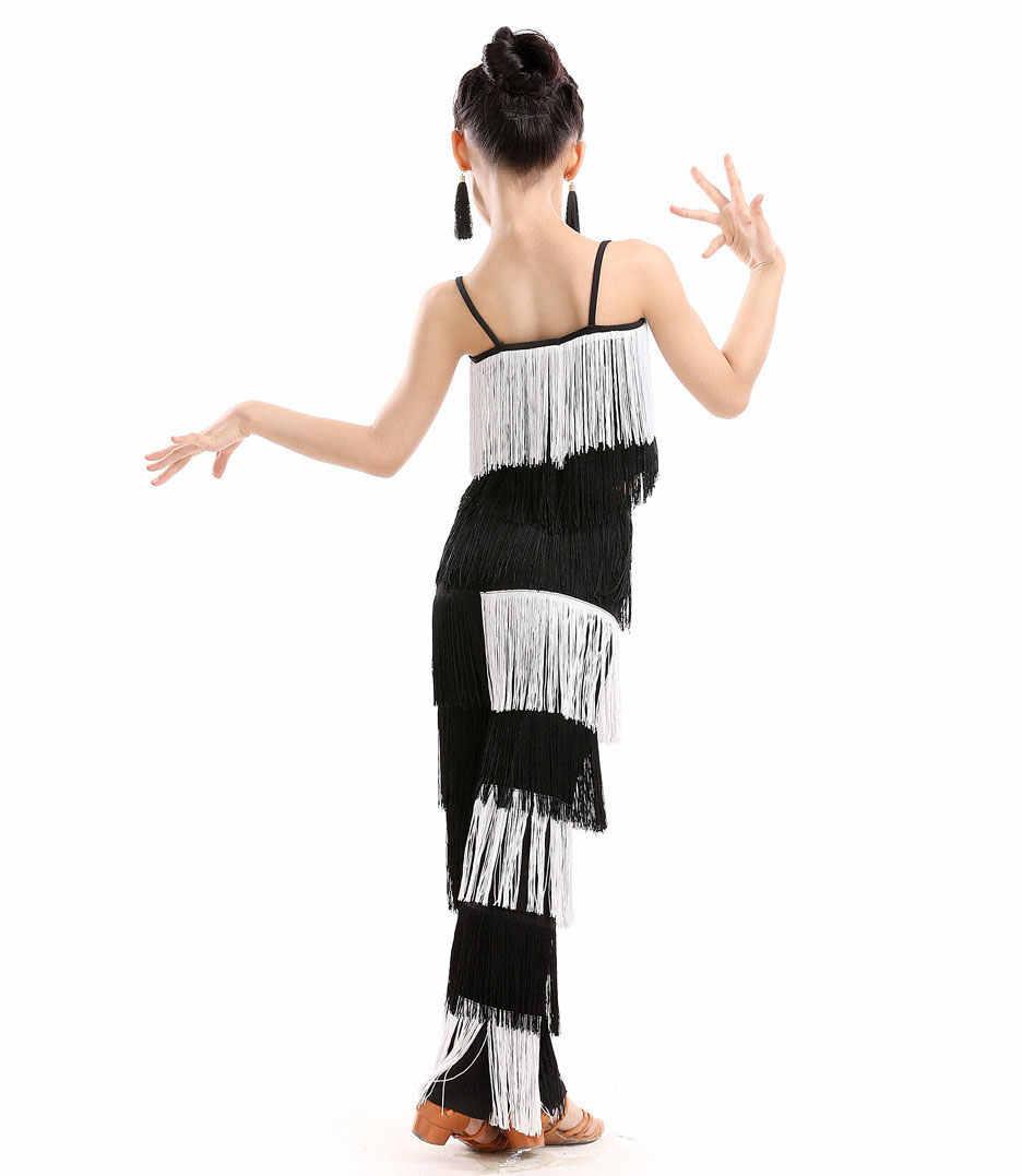 Neue Kinder Bachata Latin Dance Kostüme Mädchen Ballsaal Tango Salsa Latin Dance Wettbewerb Kostüm Fringe Hosen Tops