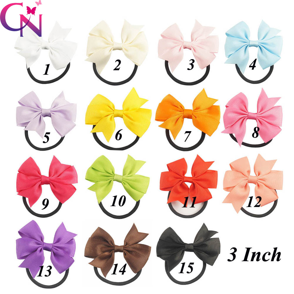 30 Pcs/lot 3 Solid Ribbon Bow Elastic Hairband For Girls Kids Handmade Boutique Headband Hair Tie Accessories Headwear 10pcs lot high quality hair band with grosgrain ribbon flower for girls handmade flower hairbow hairband kids hair accessories
