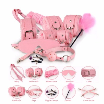 10 Pcs/set Sexy Lingerie PU Leather bdsm Bondage Set Sex Hand Cuffs Footcuff Whip Rope Blindfold Erotic Sex Toys For Couples 1