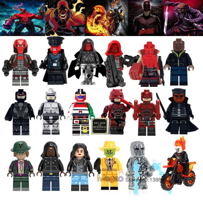 Marvel Red Skull Luke Cage Ghost Rider Robocop Hellboy Riddler Super Villain อาคารบล็อกของเล่นของขวัญ