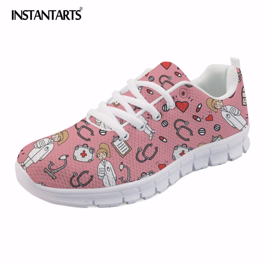 INSTANTARTS 2018 Summer Air Mesh Flat Shoes Women's Sketch Medical Pink Print Lace Up Sneaker Shoes Female Lightweight Flats instantarts flats women shoes casual cool skull punk print women air mesh shoes sneaker breathable light indoor youth girl tenis