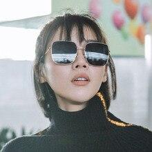Internet celebrity Square metal sunglasses fashion Polygonal Sunglasses Trend Skinny Sun glasses