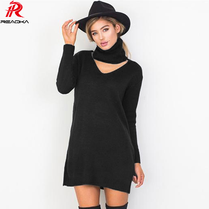Casual Turtleneck Long Knitted Sweater Dress Women Cotton Slim Bodycon Vintage Pullover Female Autumn Winter Dress 2018 Vestidos women turtleneck front pocket sweater dress