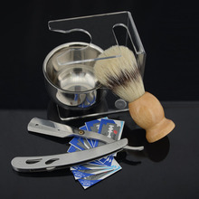 ZY Men Barber Straight Blades Razor Kit + Shaving Badger Bristle Beard Brush +Razor Stand Holder + Soap Bowl Cup +10 Free Blades
