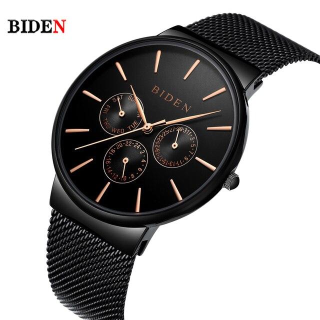 57bd9ae3160 Top hombres reloj marca biden multi zona horaria reloj de cuarzo para  hombre moda casual malla