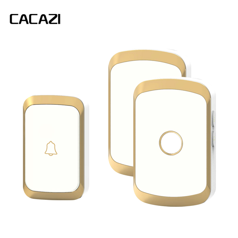 купить CACAZI Newest Wireless Doorbell Waterproof AC 110-220V 300M Remote Door bell 36 Melody 4 Volume 1 Button+2 Receivers Door Chime по цене 1228.22 рублей