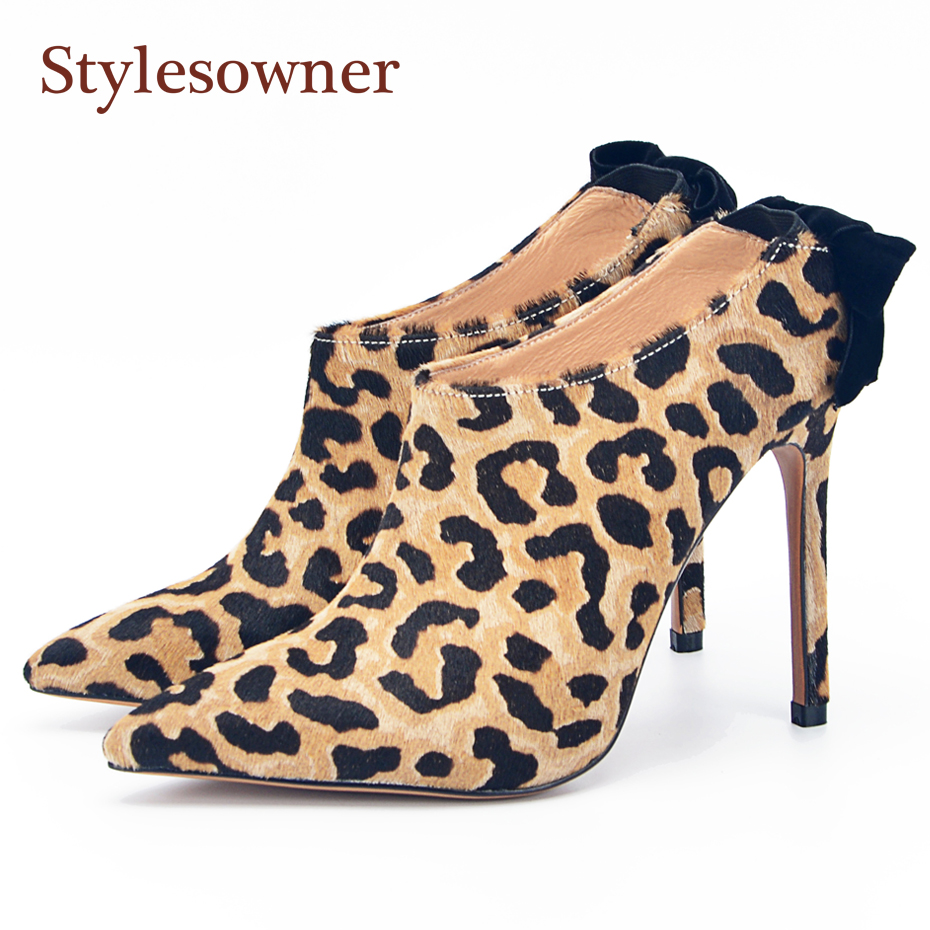 apopeo women thin high heel shoe stilettos pointed toe pumps for lady slip on dress shoes 2018 leopard printed leather shoes Stylesowner Horsehair Sexy Lady Shoes Back Bow Thin Heel Slip On Pointed Toe Leopard Shoe Pumps Party Shoe Mujer Female