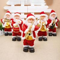 Christmas Santa Claus Dolls Standing Navidad Figurine With Music Christmas Ornaments For Home Christmas Gifts Toy