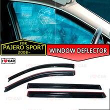 Дефлектор окна для Mitsubishi Pajero Sport 2008-Автомобильный дефлектор окна защита от ветра вентиляционное отверстие солнцезащитный дождевой козырек покрытие автомобильный Декор