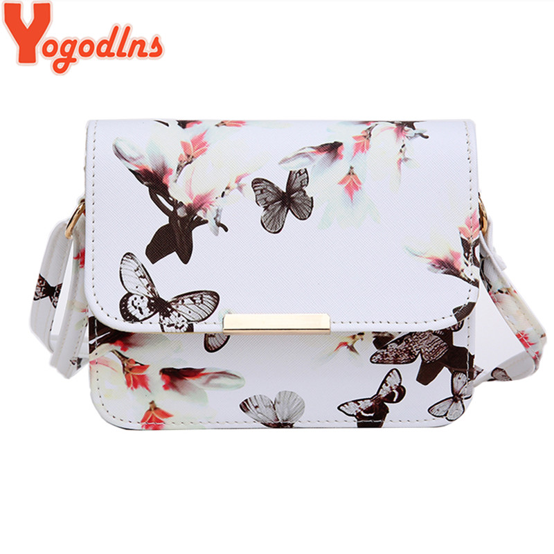 Yogodlns Women Bags Crossbody-Bag Flower Small Satchel Printed Butterfly Retro Design