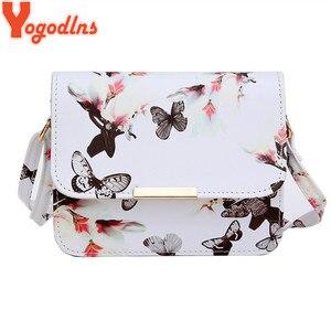 Yogodlns luxe femmes sacs Design petit cartable femmes sac fleur papillon imprimé PU cuir sac à bandoulière rétro sac à bandoulière(China)