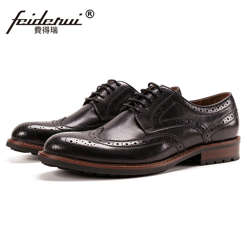 New Vintage Man Wingtip Brogue Derby Shoes Genuine Leather Handcrafted Round Toe Lace up Mens Casual Flats For Gentleman SS491New Vintage Man Wingtip Brogue Derby Shoes Genuine Leather Handcrafted Round Toe Lace up Mens Casual Flats For Gentleman SS491