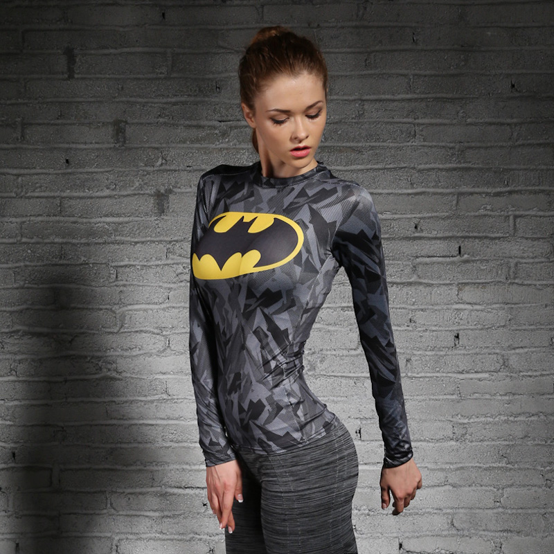 Women T-shirt Bodys Marvel costume superman/batman T Shirt Long Sleeve Girl Fitness Tights Compression tshirts
