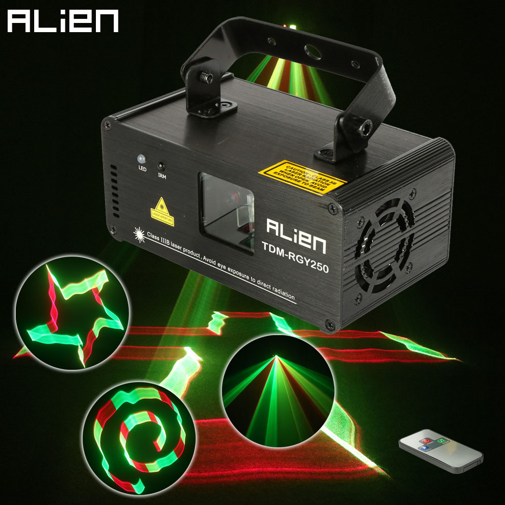ALIEN Remote 3D 250mW RGY DMX512 Laser Scanner Projector Light DJ Disco Party Xmas Professional Stage Lighting Effect Show Light rg mini 3 lens 24 patterns led laser projector stage lighting effect 3w blue for dj disco party club laser