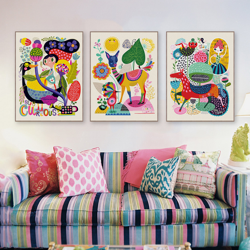 Modern Childrens Room With Colourful Wall Art: Modern Abstract Animals Art Print Poster Deer Horse Wall