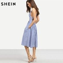SHEIN Women New Arrival Sexy Midi Dresses 2016 Summer Blue Striped Square Neck Sleeveless Crisscross Back A Line Dress