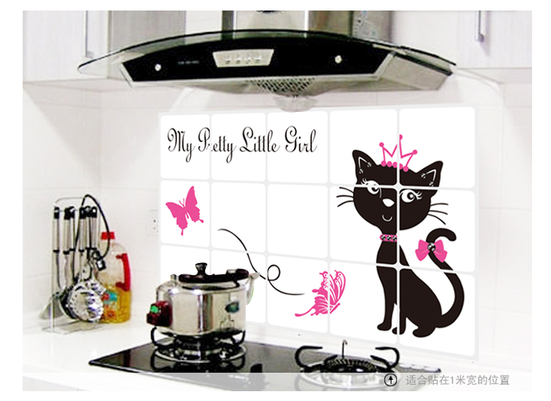 Pretty Cat Kitchen Decor Decoration Oil Proof High Temperature Resistant  Aluminum Foil Removable Mural Tile Wall Stickers Decal In Wall Stickers  From Home ...